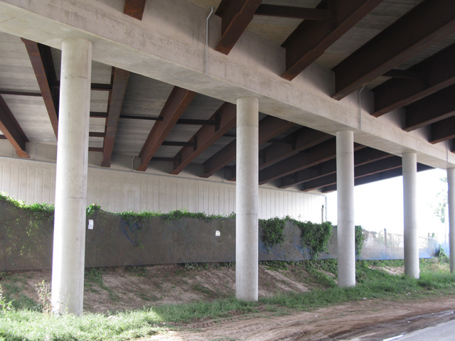 The underside of the new bridge over Cottington Road
