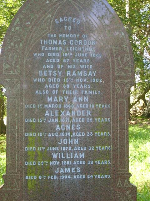 Gordon family grave stone
