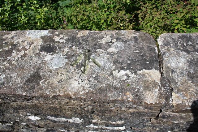 Benchmark on north parapet of Howgill Bridge