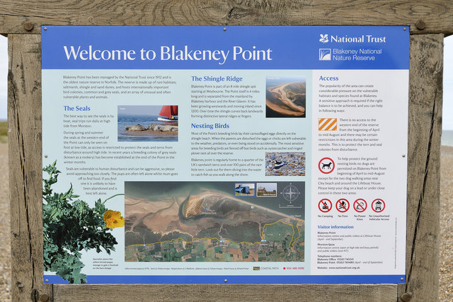 'Welcome to Blakeney Point' sign, Cley Eye car park