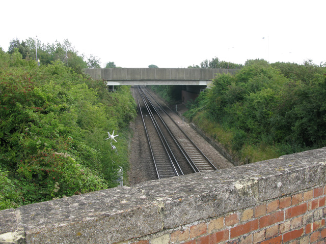 The bridge carrying the A256 over the railway at Lord of the Manor