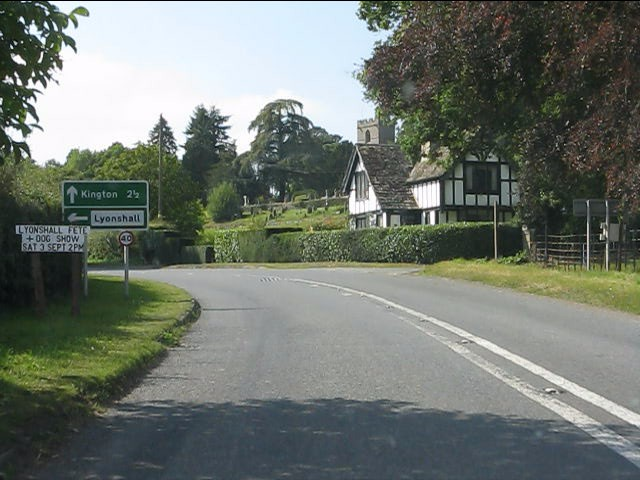 A44 near Lyonshall castle