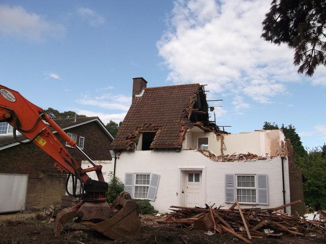Semi-demolished house, Bromley