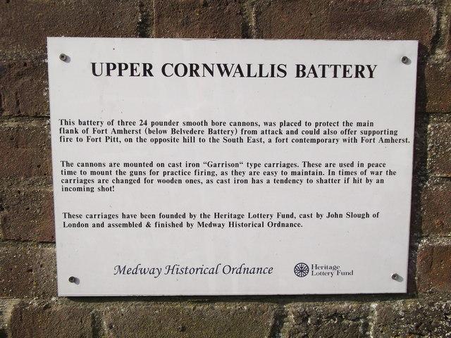 Upper Cornwallis Battery Note