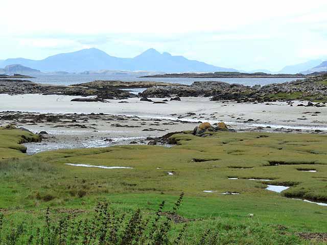 Salt marsh, beach and tidal rocks at Portuairk