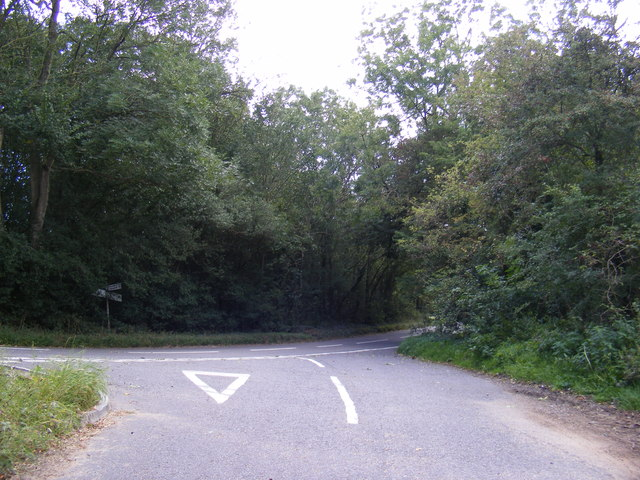 Road to Clopton Green junction with the B1078