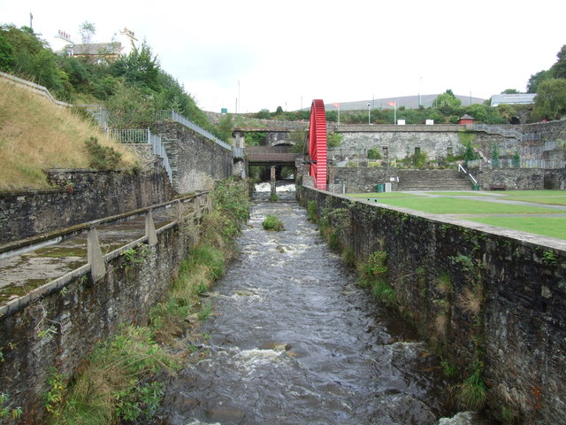 The weir at Laxey and Lady Evelyn waterwheel