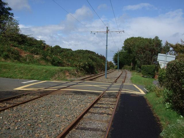 Northwards on Manx Electric Railway at Ballajora Station