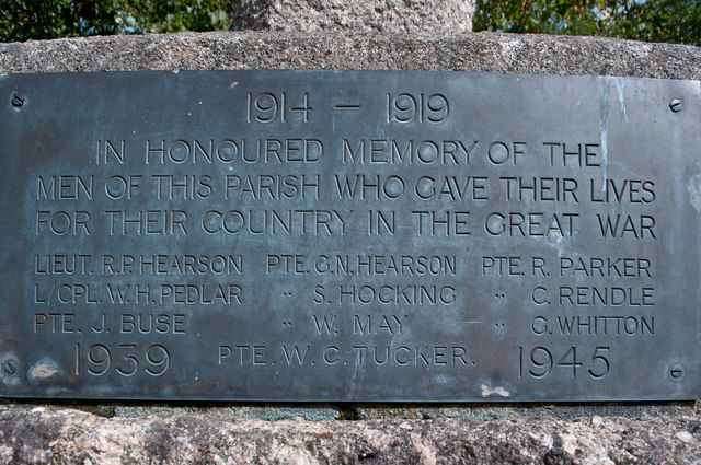 A plaque on the front of the War Memorial at Westleigh