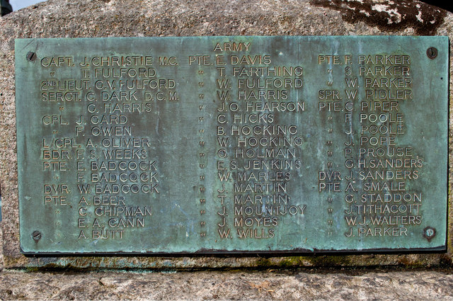 A plaque on the right side of the War Memorial at Westleigh