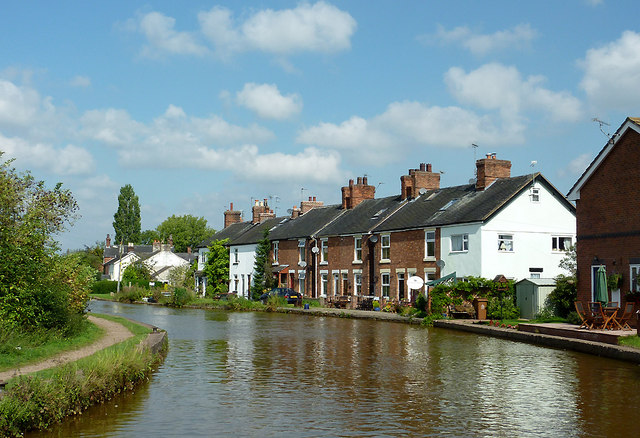 A canalside terrace at Rode Heath, Cheshire