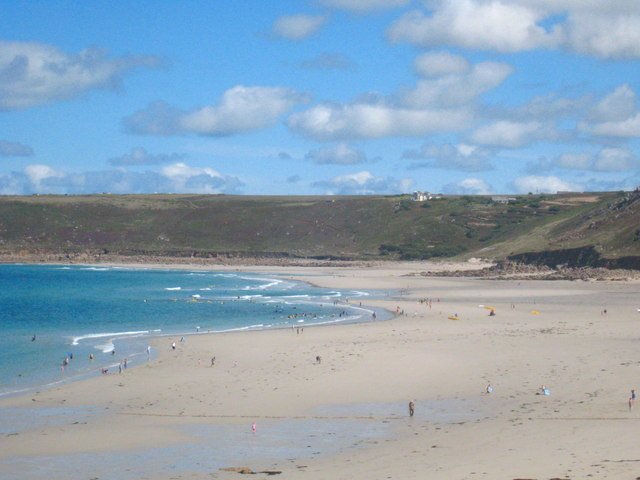 A very low tide on Sennen Beach