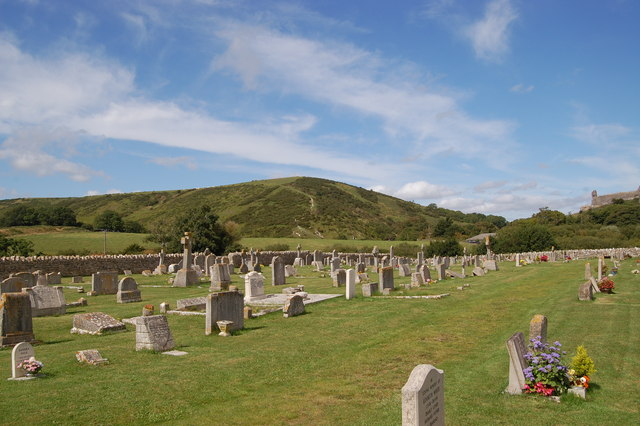 Corfe cemetery looking towards West Hill
