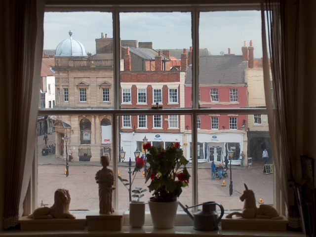 View of Newark marketplace from the mayoral office in the town hall