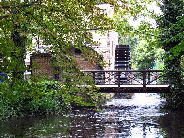 Restored waterwheel in Morden Hall Park