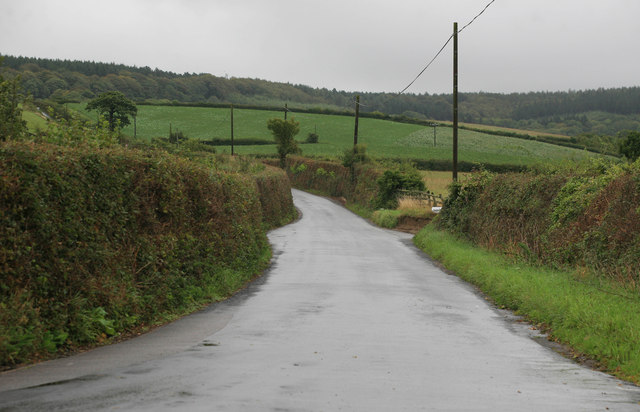 Exeter Road Biddlecombe Cross in the rain