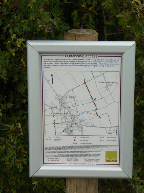 Permissive footpath notice