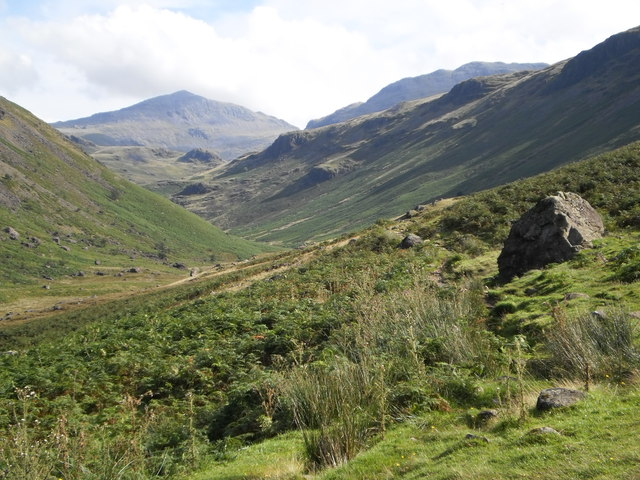 Bowfell appearing at the head of the valley