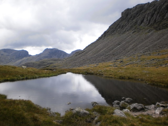 Bowfell and the Scafells from Three Tarns