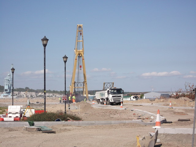Tarmacking the new road in Rochester Riverside