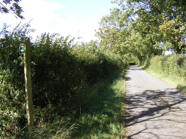 Hall Lane & the footpath to Bastings Hall