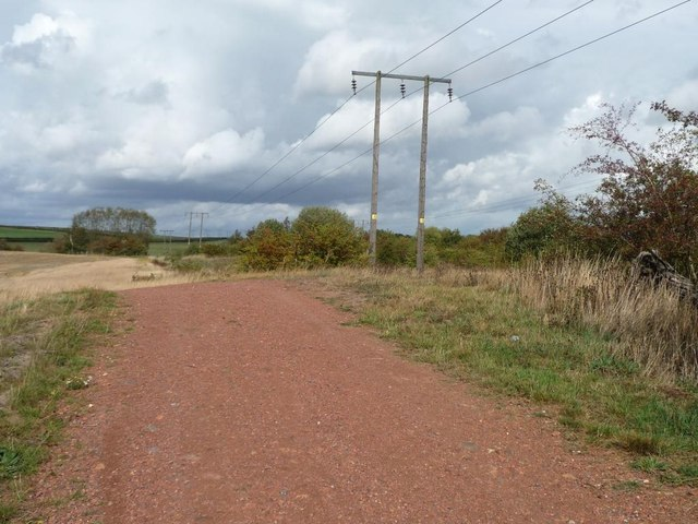 Telegraph poles along the edge of former spoil heap