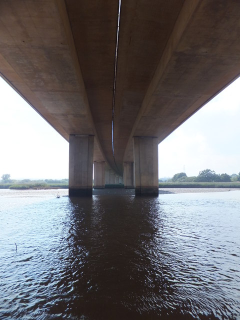 River Exe and the underside of the M5 bridge