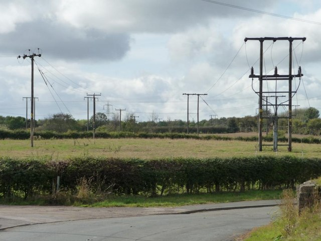 Parallel wires, south west of new Road