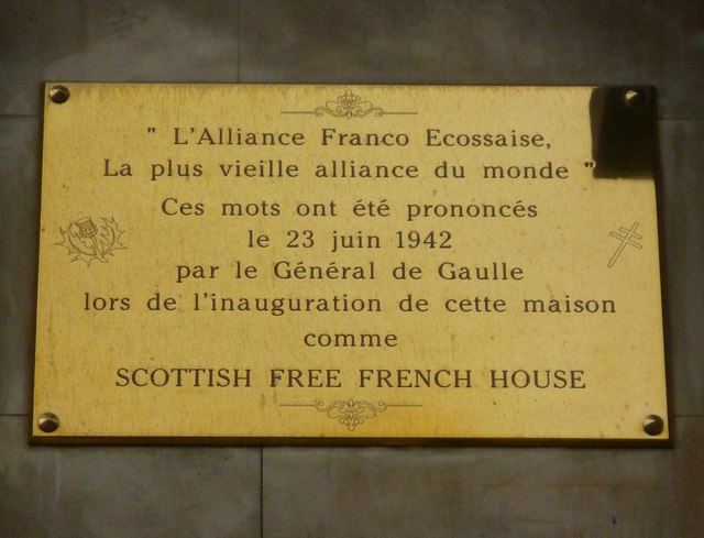 Scottish Free French House plaque, Regent Terrace