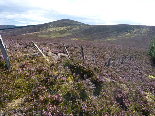 """View from the summit of Melmannoch, over the area called """"Factors Rees"""", towards Kerloch"""