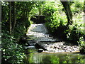 ST6363 : Sluice and weir on Candlestick Brook in Lord's Wood by James Ayres