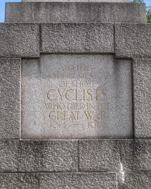 Inscription on the Cyclists' war memorial