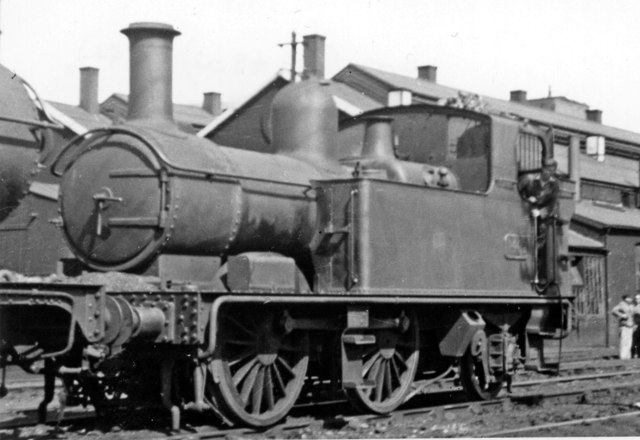Auto-fitted GW 0-4-2T at Gloucester Locomotive Depot