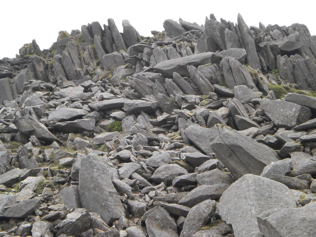 Rock outcrops below Bowfell summit