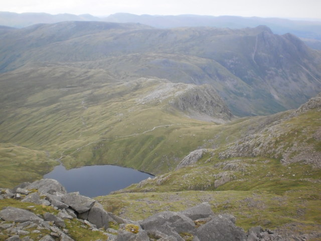 Glimpse of Angle Tarn from Esk Pike
