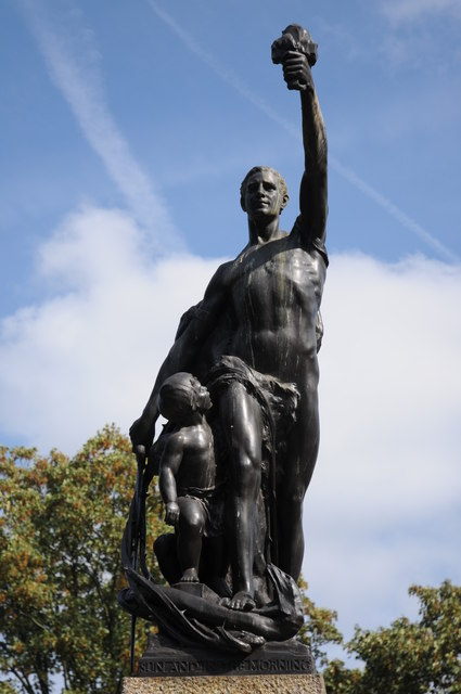 Statue on war memorial