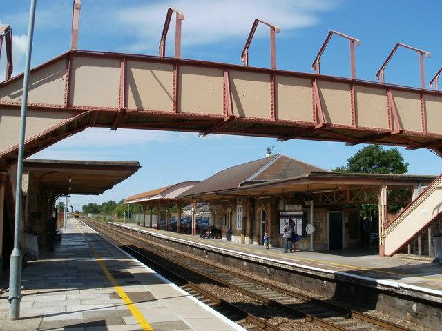 Yatton Station viewed through the footbridge