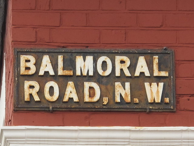 Sign for Balmoral Road, NW2