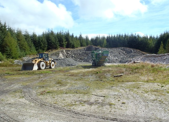 Stock pile of road metal, Laurieston Forest