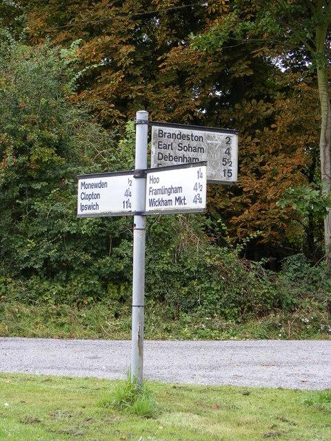 Roadsign at Monewden Road Junction