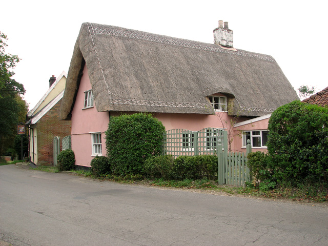 Pink thatched cottage, Wingfield