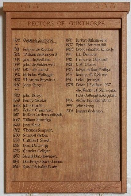 St Mary, Gunthorpe - Rectors board