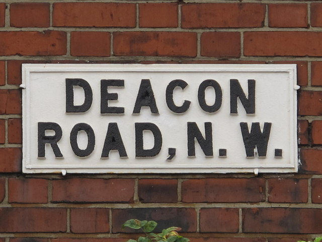 Sign for Deacon Road, NW2