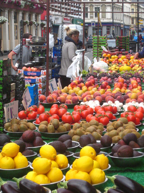A fruit stall in North End Road street market Fulham