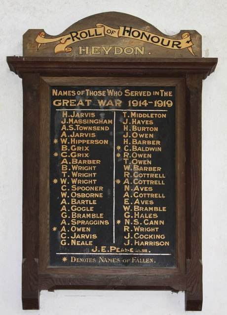 St Peter & St Paul, Heydon - War Memorial WWI