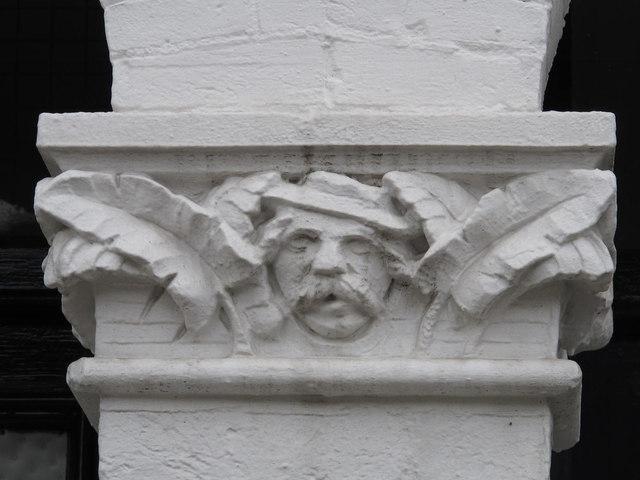 Stone head on doorway, Chaplin Road, NW2