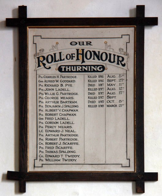 St Andrew, Thurning - Roll of Honour