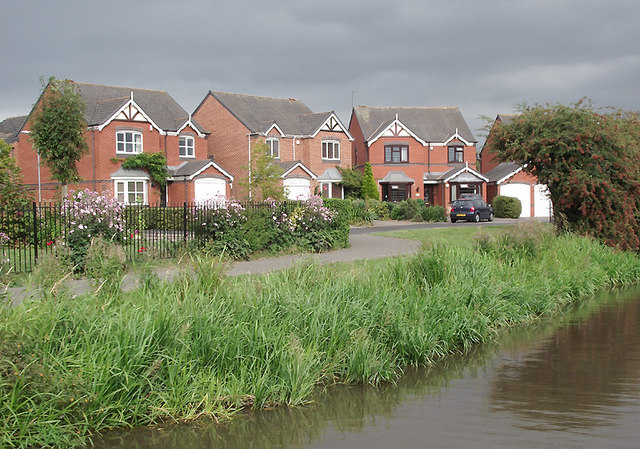 Canalside housing at Little Stoke, Staffordshire