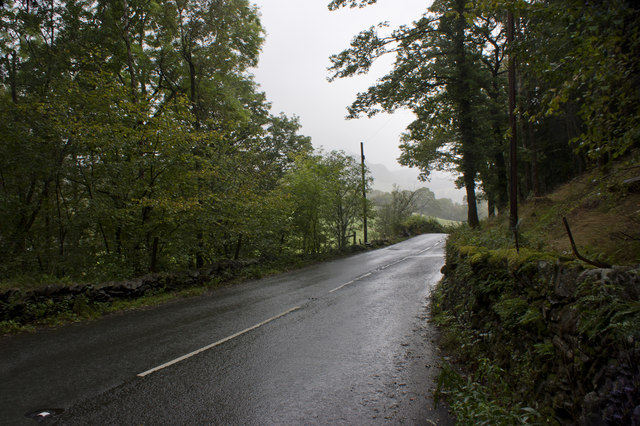 The A593 towards Skelwith Bridge