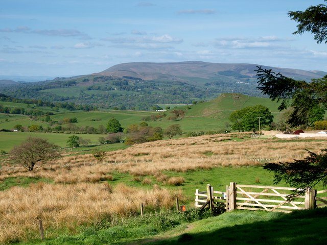 View of Pendle Hill from the path above Dean Reservoir